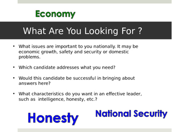 Evaluating A Political Candidate