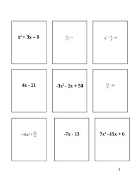 Evaluating Algebraic Expression Card Game