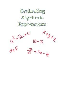 Evaluating Algebraic Expressions