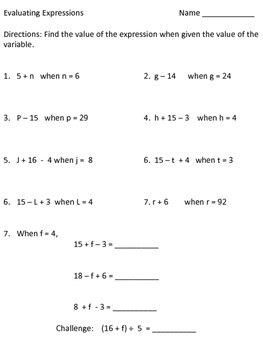 Math Worksheets Evaluating Expressions | Homeshealth.info