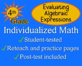 Evaluating Algebraic Expressions, 4th grade - worksheets - Individualized Math