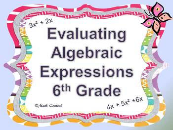 Evaluating Algebraic Expressions 6th Grade