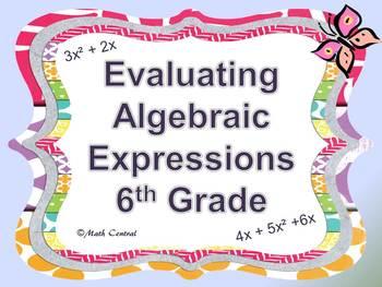 Evaluating Algebraic Expressions 6th Grade