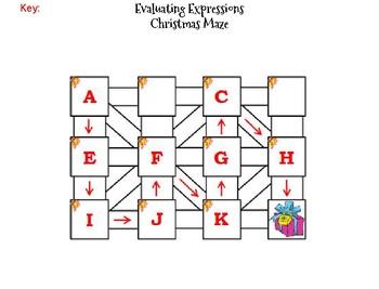 Evaluating Algebraic Expressions Activity: Christmas Math Maze