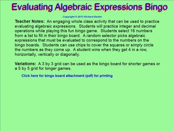 Evaluating Algebraic Expressions Bingo for the Smartboard 6.EE.A.2C
