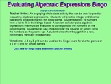 Evaluating Algebraic Expressions Bingo for the Smartboard