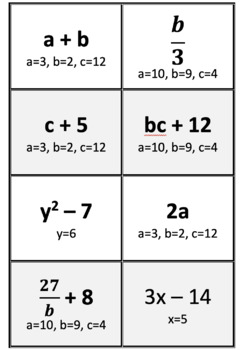 Evaluating Algebraic Expressions Cooperative Learning Game Cards