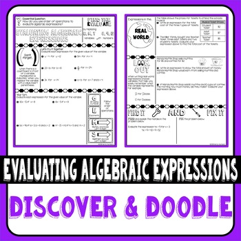 Evaluating Algebraic Expressions Doodle Notes