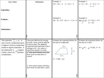 Evaluating Algebraic Expressions Foldable with Fractions and Decimals