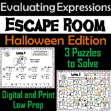 Evaluating Algebraic Expressions Game: Escape Room Halloween Math Activity