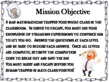 Evaluating Algebraic Expressions Game: Escape Room Math Activity