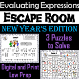 Evaluating Algebraic Expressions Game: Escape Room New Year's Math Activity