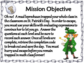 Evaluating Algebraic Expressions Game: Escape Room St Patricks Day Math Activity