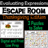 Evaluating Algebraic Expressions Game: Escape Room Thanksgiving Math Activity