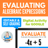 Evaluating Algebraic Expressions Digital Activity for Goog