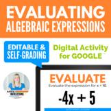 Evaluating Algebraic Expressions Digital Activity for Goog