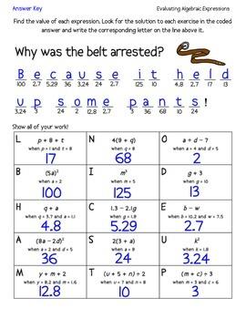 Evaluating Algebraic Expressions: Joke/Riddle Worksheet