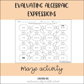 Evaluating Algebraic Expressions Maze
