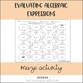 Evaluating Algebraic Expressions Maze