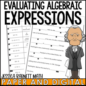 Evaluating Algebraic Expressions Mistory Lib Activity