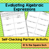 Evaluating Algebraic Expressions Partner Activity
