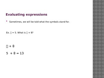 Evaluating Algebraic Expressions Powerpoint