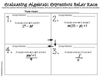 Evaluating Algebraic Expressions Relay Race