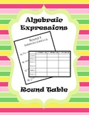 Evaluating Algebraic Expressions Round Table