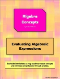 Evaluating Algebraic Expressions - Scaffolded Worksheets