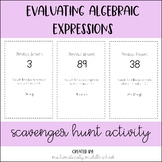 Evaluating Algebraic Expressions Scavenger Hunt