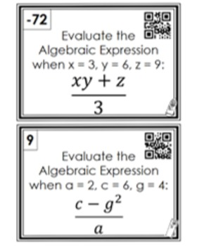 Evaluating Algebraic Expressions: Scavenger Hunt