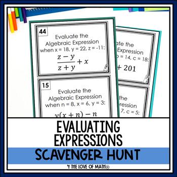 Evaluating Algebraic Expressions: Scavenger Hunt