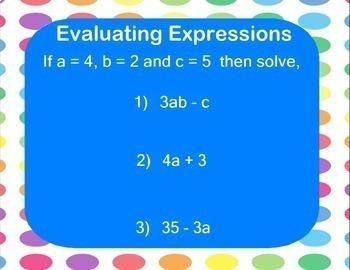 Evaluating Algebraic Expressions Smartboard Lesson Algebra Evaluate Expression