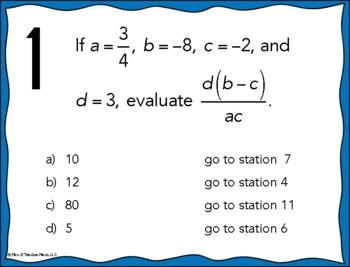 Evaluating Algebraic Expressions Stations Maze