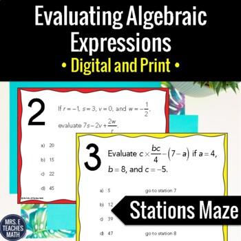 Evaluating Algebraic Expressions Stations Maze