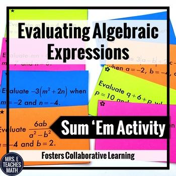 Algebraic Expressions Sum Em Activity
