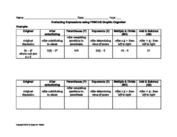 Evaluating Algebraic Expressions Tabular Graphic Organizer (PEMDAS) & Worksheet