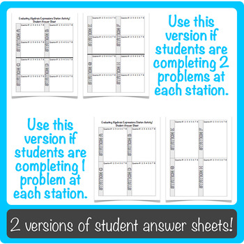 Evaluating Algebraic Expressions Using Order of Operations Station Activity!
