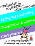 Evaluating Algebraic Expressions Who Am I? Inventor Worksheets 10 Pack
