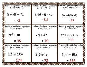 Evaluating Algebraic Expressions With Given Variable Task Cards