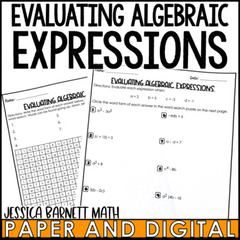 Evaluating Algebraic Expressions Word Search Activity