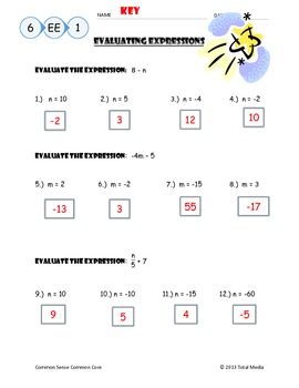 Evaluating Algebraic Expressions Worksheet by April Langelett | TpT