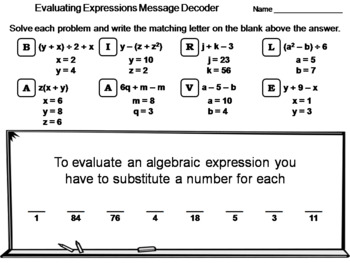 Evaluating Algebraic Expressions Worksheet: Math Message Decoder