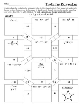 Evaluating Algebraic Expressions Worksheet {Maze} {Activity} { Worksheets}