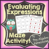 Evaluating Algebraic Expressions Worksheet {Distance Learn