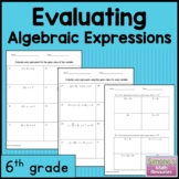 Evaluating Algebraic Expressions  Worksheets 6th Grade  6.EE.A.2