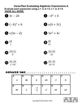 Evaluating Algebraic Expressions and Formulas for VersaTiles SOL(2016) 8.14a