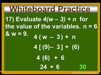 (8th) Evaluating Algebraic Expressions in a PowerPoint Presentation