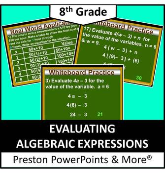 (8th) Evaluating Algebraic Expressions in a PowerPoint Pre