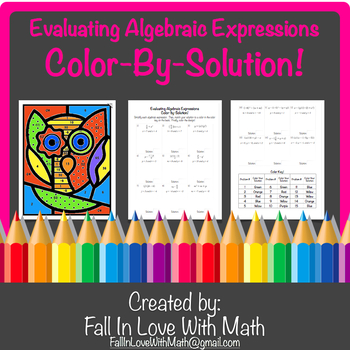 Evaluating Algebraic Expressions (w/Order of Operations) Color-By-Number!
